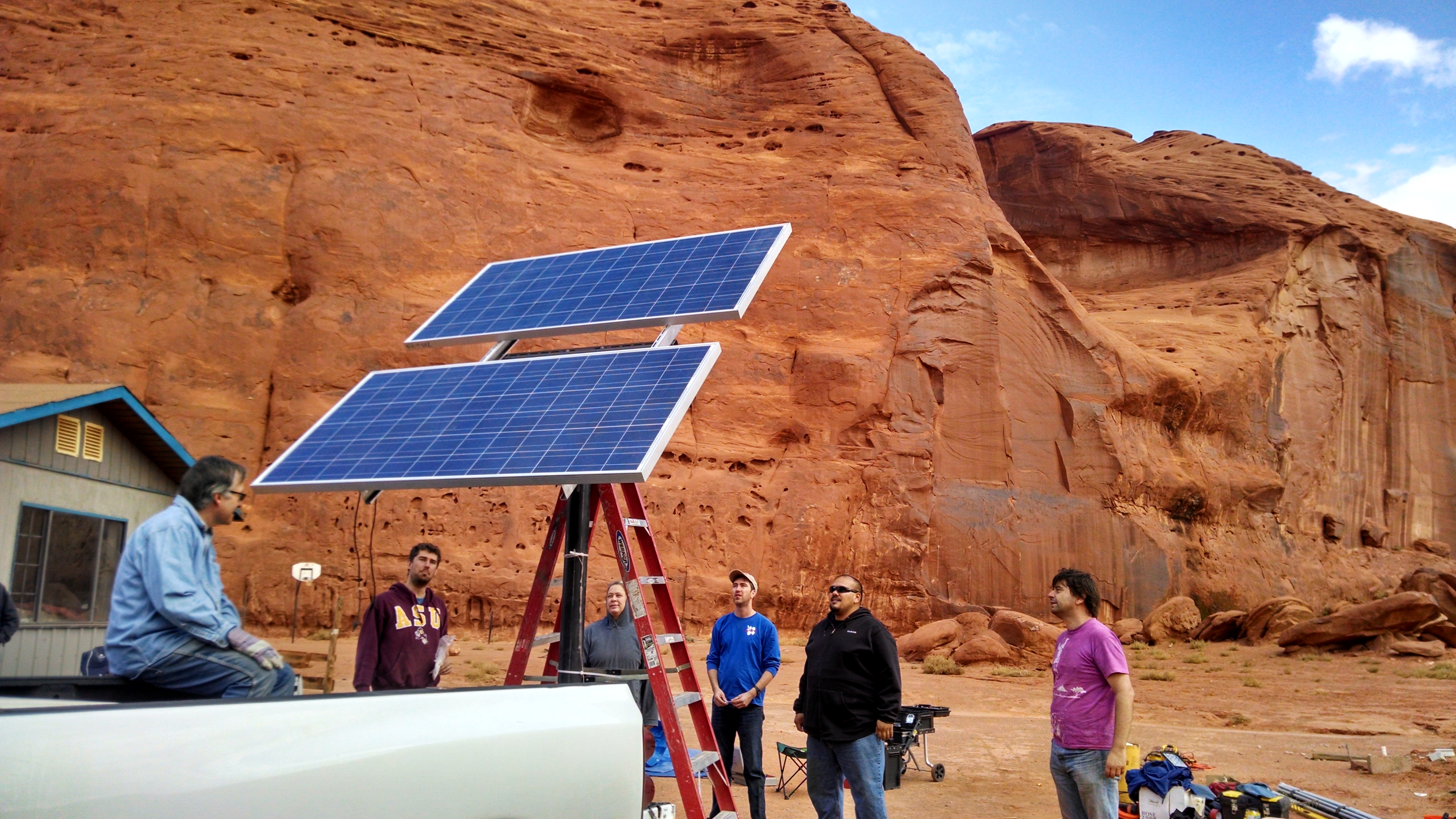 QESST Scholars and faculty install a solar PV system in Monument Valley, Navajo Tribal Park