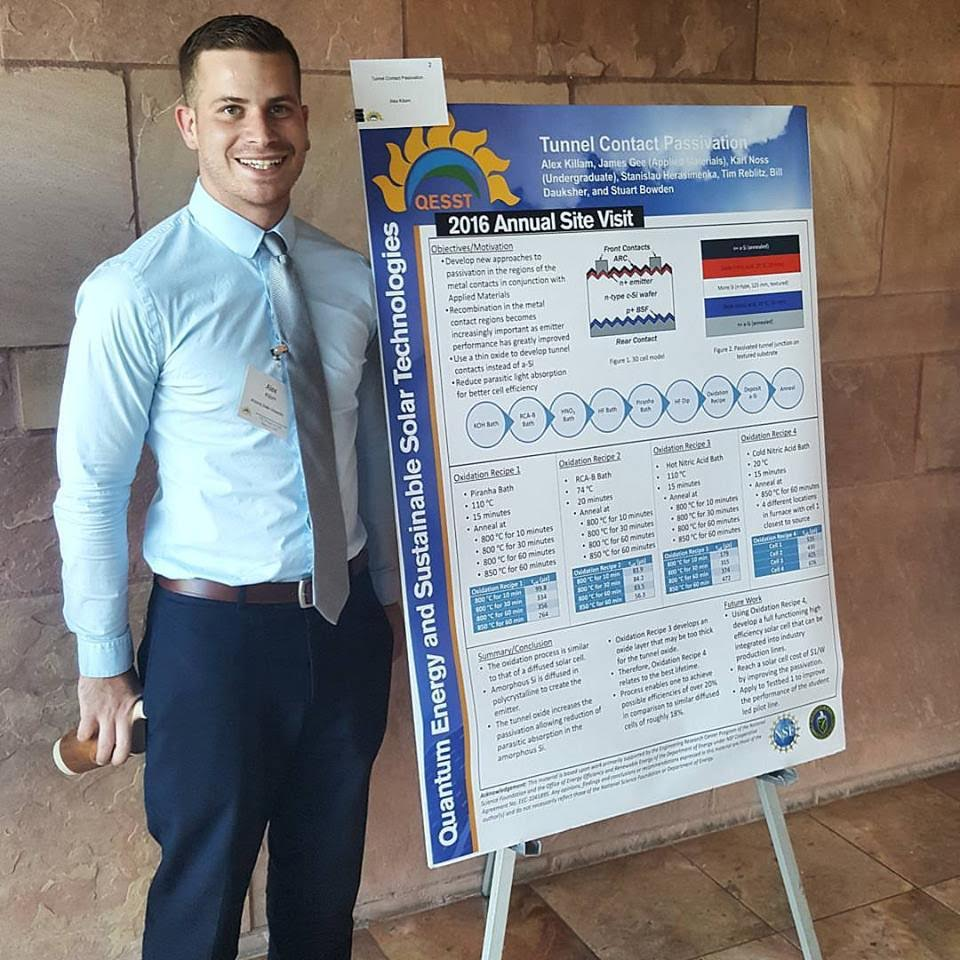 New SLC president, Alex Killam, during the Poster Session at the QESST-NSF Site Visit 2017